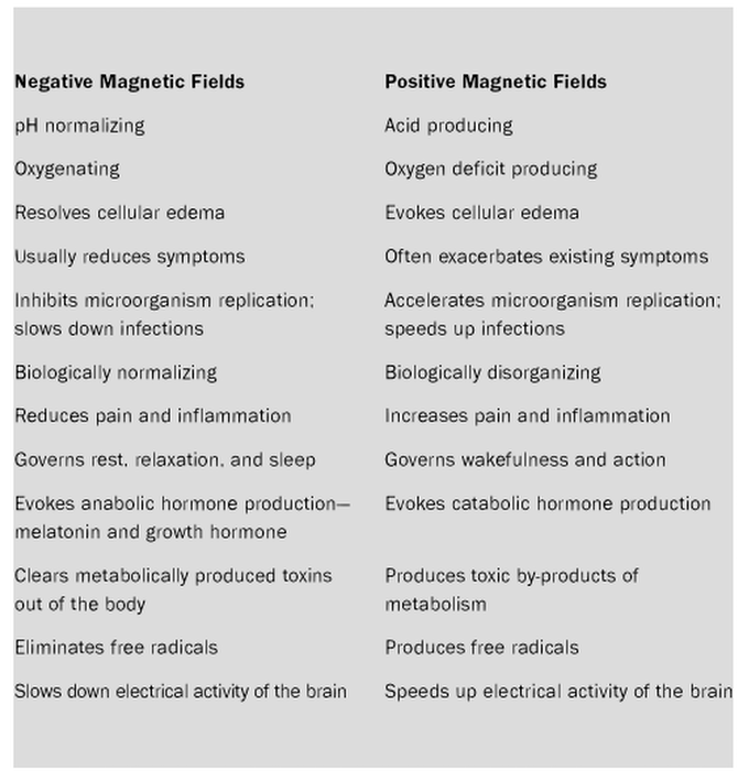 Effects of Positive and Negative Magnetic Fields On The Body